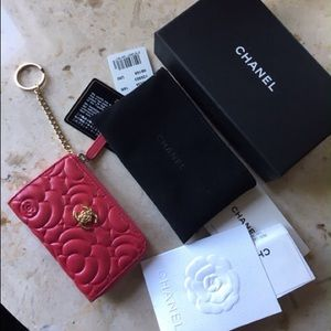 Chanel Caviar Camellia Zippy O Case Wallet